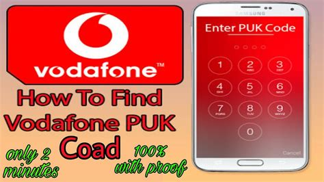 find vodafone puk code   proof