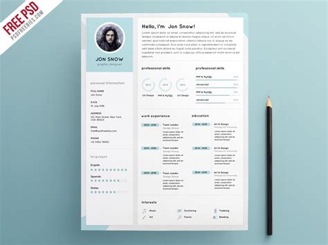 Clean Resume Template Psd by Clean Resume Cv Template Psd Template Psdfreebies