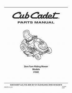 Cub Cadet Parts Manual Model No  I1042
