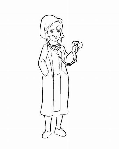 Doctor Coloring Pages Woman Female Colouring Doctors