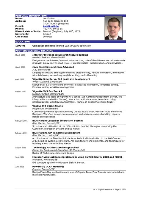 one page resume format doc resume exle best resume