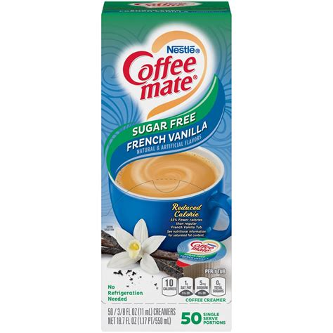 Coffee mate sugar free french vanilla liquid creamer is smooth vanilla perfection—without the sugar, and triple churned and 2x richer than milk. NESTLE Coffee mate Coffee Creamer Sugar-Free French Vanilla Flavor, Liquid Creamer Singles, 0 ...