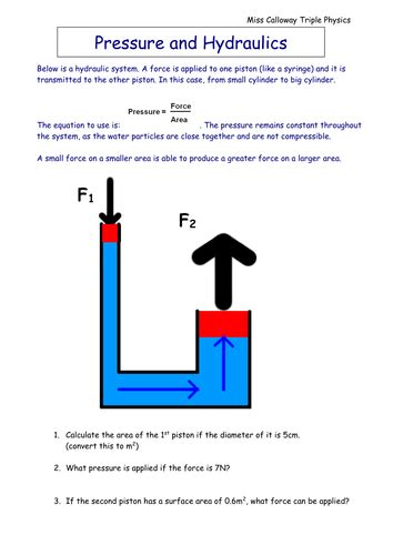 pressure  hydraulics worksheet  oliviacalloway