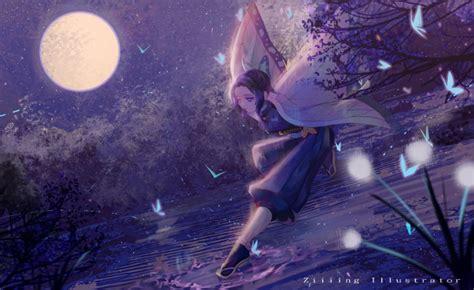 wallpaper demon slayer kochou shinobu moonlight