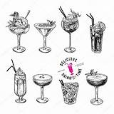 Sketch Drawn Cocktails Hand Alcoholic Vector Illustration Cocktail Drawing Drawings Doodle Glass Draw Tattoo Coffee Clipart Depositphotos Preview sketch template
