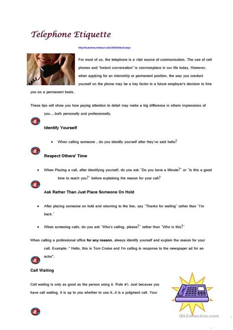 Telephone Etiquette Worksheet  Free Esl Printable