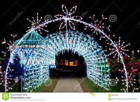 christmas light tunnel stock photo image  light