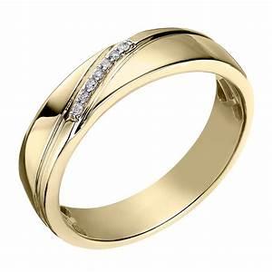 9ct yellow gold men39s diamond perfect fit wedding ring h for Mens wedding rings yellow gold