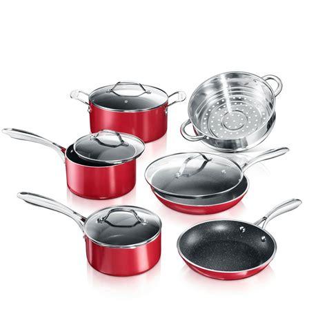 granitestone cookware set  piece heavy duty aluminum  stick glass lid red ebay