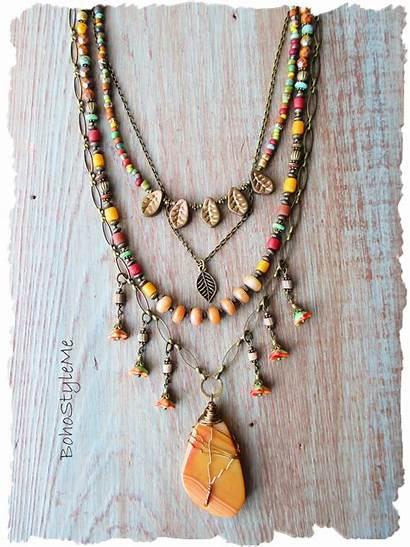 Boho Necklace Bohemian Gemstone Beaded Jewelry Hippie