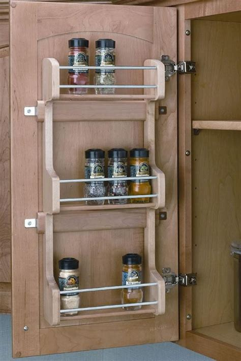 your spice rack on the inside of a cupboard door