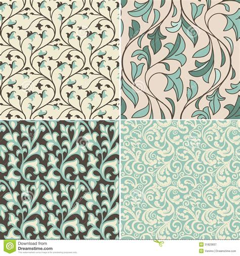 Vector Set With Vintage Seamless Patterns Royalty Free ...