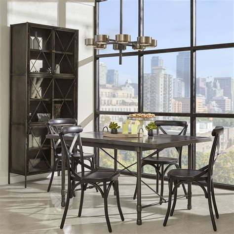 industrial metal top dining room w black chairs by pulaski furniture furniturepick