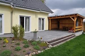 Garten terrasse aus betonplatten mit hochdruckreiniger for Garten planen mit balkon carport