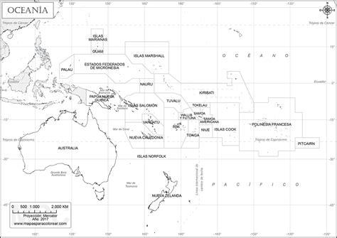 Mapas de Oceanía para colorear