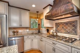 copper kitchen backsplash tiles looking copper range hoods mode chicago traditional kitchen innovative designs with beige