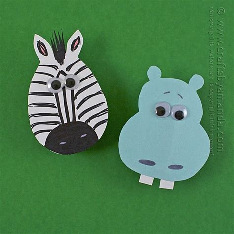 zoo craft hippo  zebra clothespin magnets