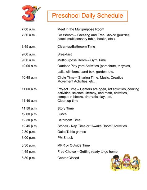 plan daily schedule half day preschool daily schedule submited images