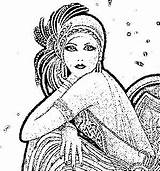 Flapper Coloring Pages Adult Dapper Drawing Embroidery Flappers Sheets Craft Cards Colouring Books sketch template