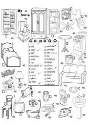 english worksheet furniture  ensenar  aprender