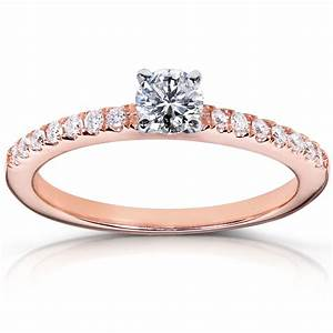 14k rose gold round diamond engagement ring unusual With rose gold diamond wedding ring