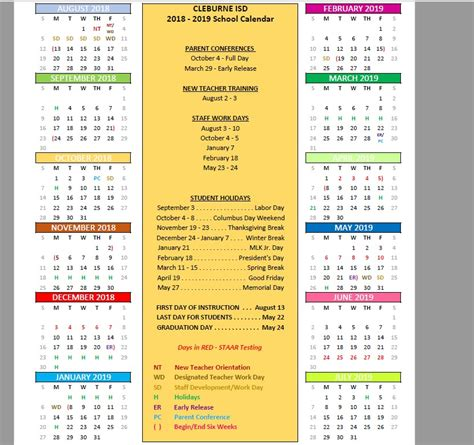 school calendar superintendent cleburne independent