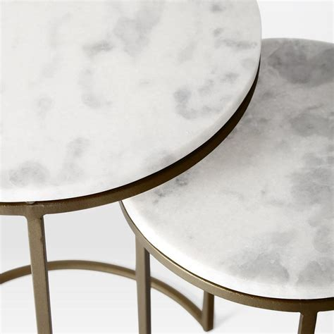 ★★ if you want to order any other size or color, you can contact us by email. Round Nesting Side Tables Set - Marble/Antique Brass | west elm Australia