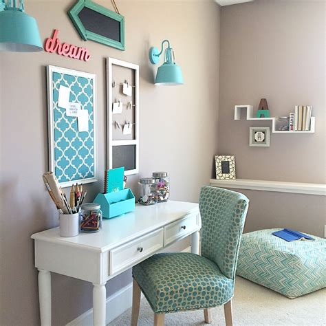 Turquoise Teen Room And Organized Deskcraft Table