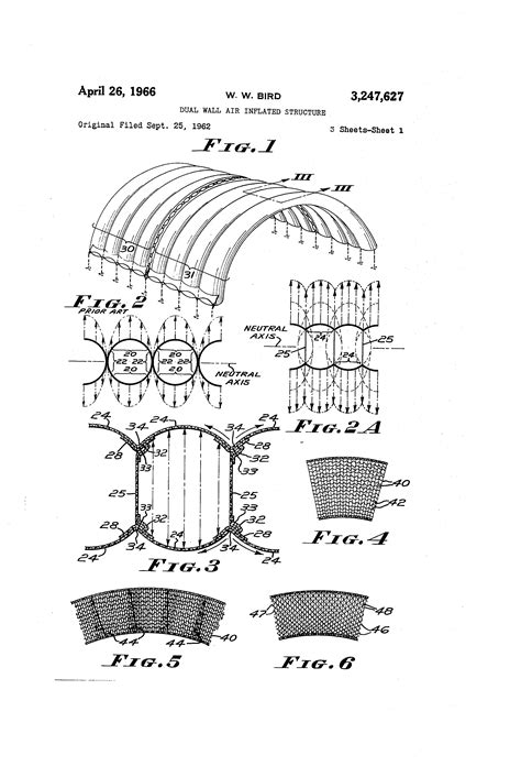 Patent US3247627 - Dual wall air inflated structure