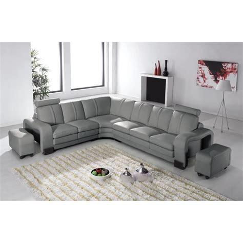 canape angle cuir gris canapé d 39 angle en cuir gris avec appuie tête relax havane
