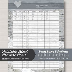 Blood Pressure Pulse Readings Chart Printable Blood Pressure Chart With Editable Pdf Form