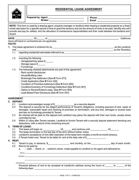residential lease agreement setting  terms