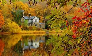 Autumn, Fall, Landscape, Nature, Tree, Forest, Leaf, Leaves, House, Lake, Reflection, Wallpapers