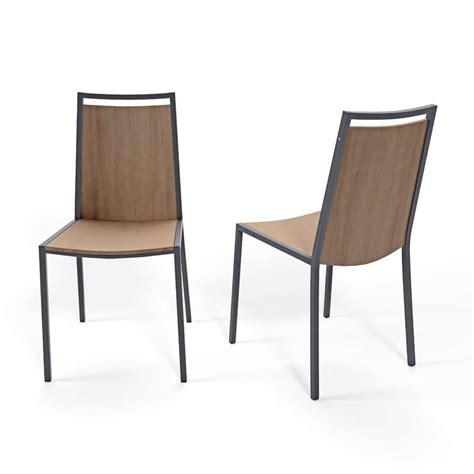 chaise métal et bois chaise de cuisine en métal et bois concept 4 pieds