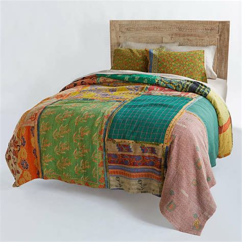 Vintage Coverlets by Reversible Antique Quilt Vintage Kantha Throw Patchwork