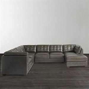 Slate grey leather u shaped sectional for U shaped sectional sofa india