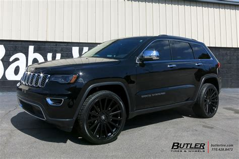 jeep cherokee black with black rims jeep grand cherokee with 22in black rhino spear wheels