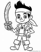 Jake Pirates Coloring Neverland Pages Sword Disneyclips Pdf Holding Funstuff sketch template