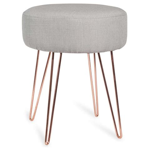 Bedside Tables And Dressers by Lulea Copper Coloured Metal And Grey Fabric Stool