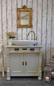 Bad Deko Vintage : samanta antiker landhaus waschtisch mit spiegel von badm bel landhaus land und liebe ~ Markanthonyermac.com Haus und Dekorationen