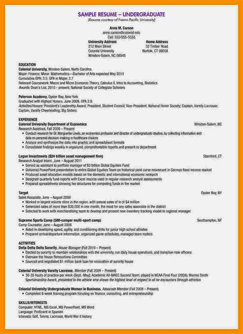 write  cv  undergraduate students resume