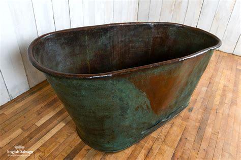 antique copper bath tub  verdigris patina