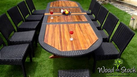 chaise en teck jardin salon de jardin ensemble table teck résine et chaises