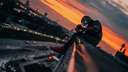 Mask 4k Guy Neon Roof Height Wallpapers
