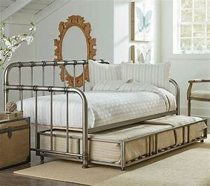 Tristen Metal Daybed W Trundle Aged Pewter Kids Beds
