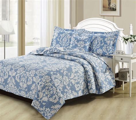 Blue Quilted Bedspread dada bedding jacquard damask blue floral quilted