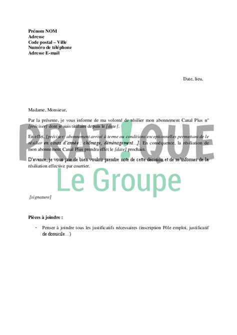 canal plus adresse siege lettre de résiliation d 39 abonnement canal plus pratique fr