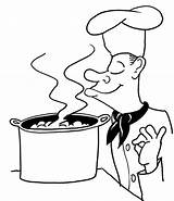 Coloring Chef Soup Cooked French sketch template