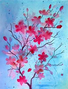 Watercolor Cherry Blossom Tutorial images