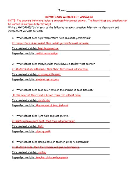 ag science hypothesis worksheet answers curriculum